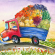 Truck with vegetables - Stock Photo