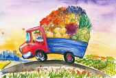 Truck with vegetables — Stock Photo