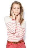 Beautiful female model on white background — Foto de Stock