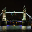 Olympic rings on Tower Bridge — Stock Photo