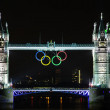 Stock Photo: Olympic rings on Tower Bridge