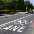 Monday July 23, 2012: The Olympic lane on Park Lane — Zdjęcie stockowe