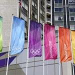 Monday July 23, 2012: London 2012 flags — Stock Photo
