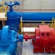 Water pumping station, industrial interior and pipes — Stock Photo #10954065