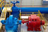 Water pumping station, industrial interior and pipes — Stock Photo