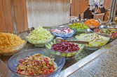 Salad selection in a hotel buffet — Stock Photo