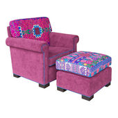 Pink Fabric armchair and stool — Stock Photo