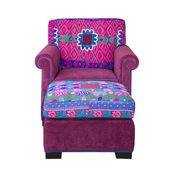 Front of Pink Fabric armchair and stool — Stock Photo
