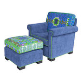 Blue Fabric armchair and stool — Stock Photo