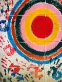 Více barevných ruka tiskne a cyklus — Stock fotografie