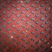 Red Grunge Rusty Steel Floor Plate — Stock Photo