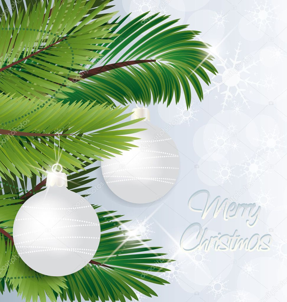 Christmas background with baubles and christmas tree — Vektorgrafik #11988462