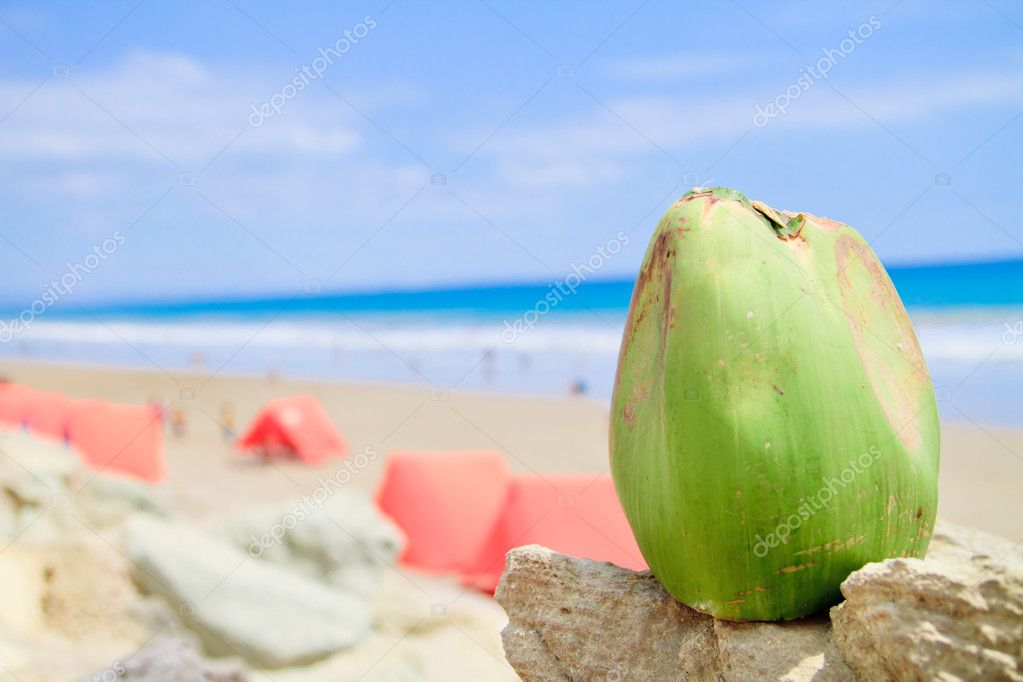 Tropical Beach with coconut  and tents camping — Stock Photo #10967522