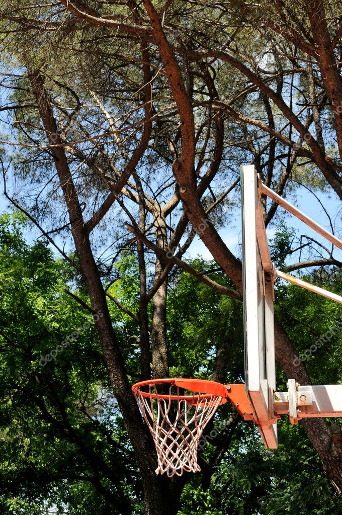 Outdoor basketball dunk with trees in the background — Stock Photo #11964183