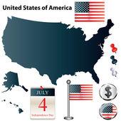Mappa degli stati uniti — Vettoriale Stock