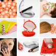 Stock Photo: Collage of cosmetics and hygiene of modern girl