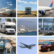 Stock Photo: Traveling collage (by air, train, water, car)