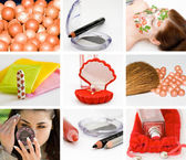 Collage of cosmetics and hygiene of a modern girl — Stock Photo