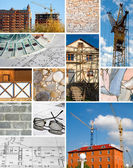 Collage of a building construction — Stock Photo