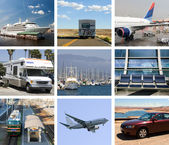 Traveling collage (by air, train, water, car) — Stock Photo