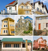 Collage of cottage construction — Stock Photo