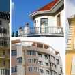Real estate collage of four residential houses — Stock Photo
