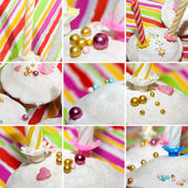 Collage of birthday cakes with candles covered with icing sugar and nonpareil — Stock Photo