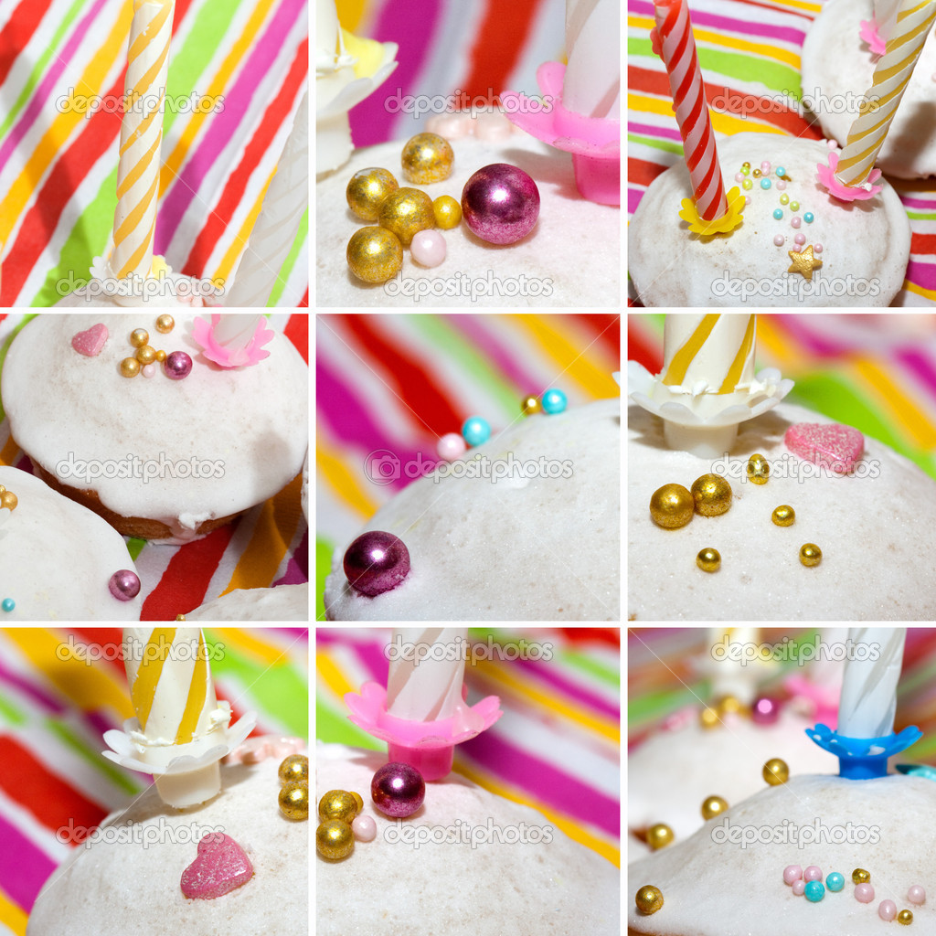Collage of birthday cakes with candles covered with icing ...