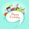 Happy birthday card with candy and berries — Stock Vector