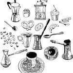 厨房配件的咖啡。一组对象 — 图库矢量图片