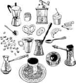 Kitchen accessories for the coffee. A set of objects. — Stock Vector