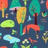 Eco-casa en el bosque y sus habitantes. patrón sin costuras — Vector de stock