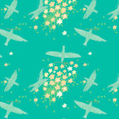 The birds circling in the sky. Spring, building nests. Seamless pattern — Stock Vector