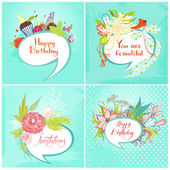 Set of four cards with Bubbles on the topic of fashion, candy, flowers and birds. — Stock Vector