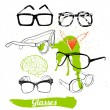 Set glasses and sunglasses — Stock Vector