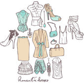 Fashion romantic dresses. Vector set of items of women's wardrobe — Vecteur