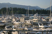 Downtown Vancouver with sailing boats at Coal harbor — Stock Photo