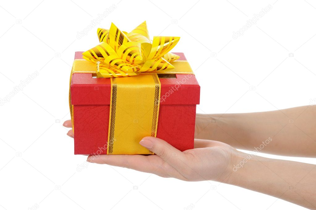 Box with a gift in the hands of women. Isolated on white background — Stock fotografie #10802118