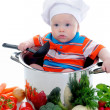 Boy with a pan — Stock Photo #10943353