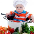 Foto Stock: Boy with a pan