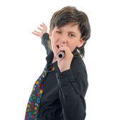 Kleiner junge mit mikrofon — Stockfoto