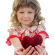 Stock Photo: Little girl holding heart