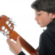 Little boy musician playing guitar — Stock Photo #10981266