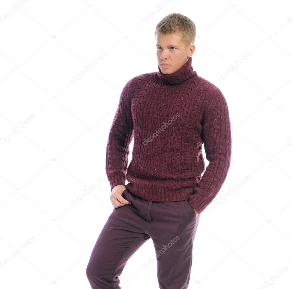 Portrait of a handsome young man in fashionable clothing. Isolated on a white background — Stock Photo #10981231