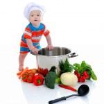 chico con una sartén — Foto de Stock
