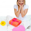Stock Photo: Young womwith gift box