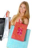 购物袋的漂亮女孩 — 图库照片