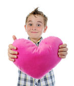 Boy gives a heart — Stock Photo