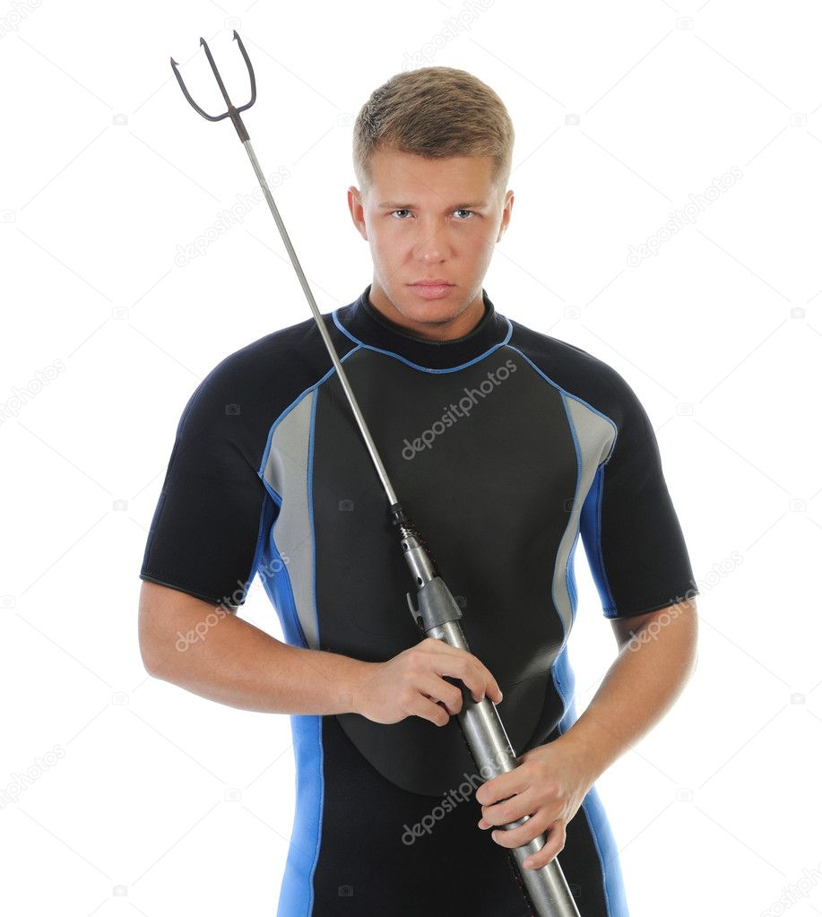 Underwater hunter in full  equipment. Isolated on a white background  Stock Photo #11106563