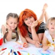 Happy mother with her daughters. - Stock Photo